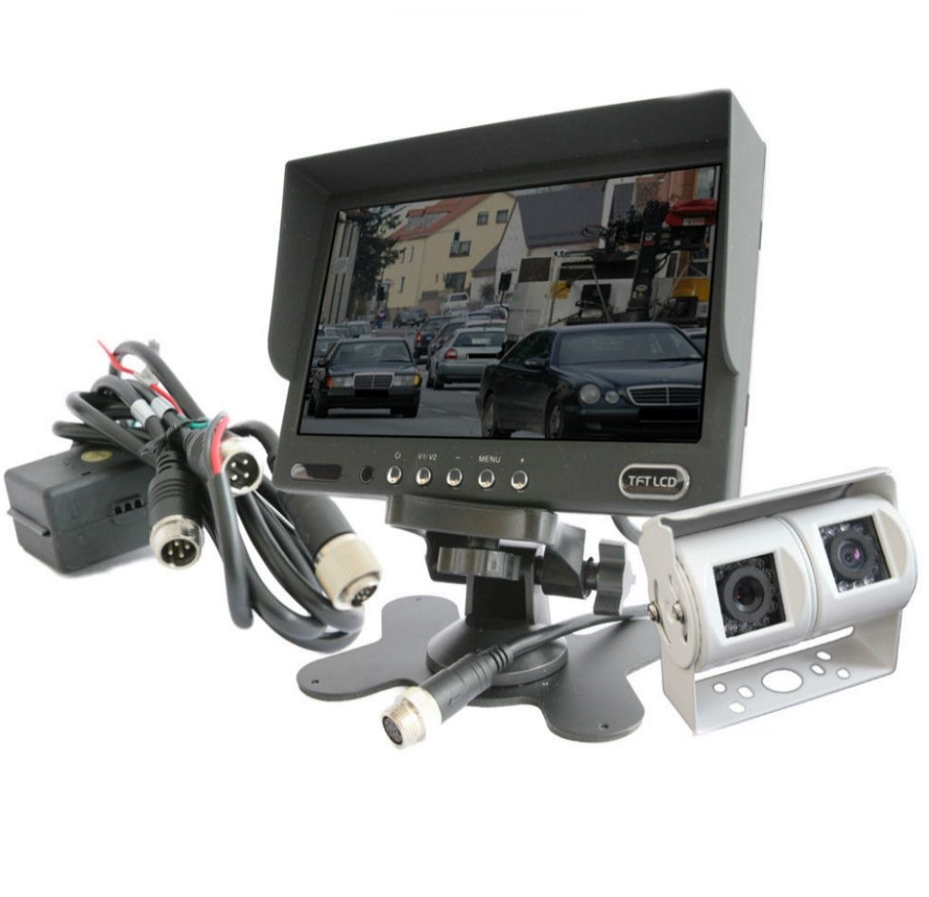 Details zu Komplettset 8V/8V Rückfahrkamera Doppel Twinkamera Auge  Wohnmobil weiß