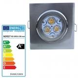 LED Einbaustrahler gebürstet  eckig schwenkbar MR16 3W
