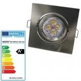 LED Einbaustrahler gebürstet  eckig schwenkbar MR16 4W
