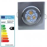 LED Einbaustrahler gebürstet  eckig schwenkbar GU10 3W